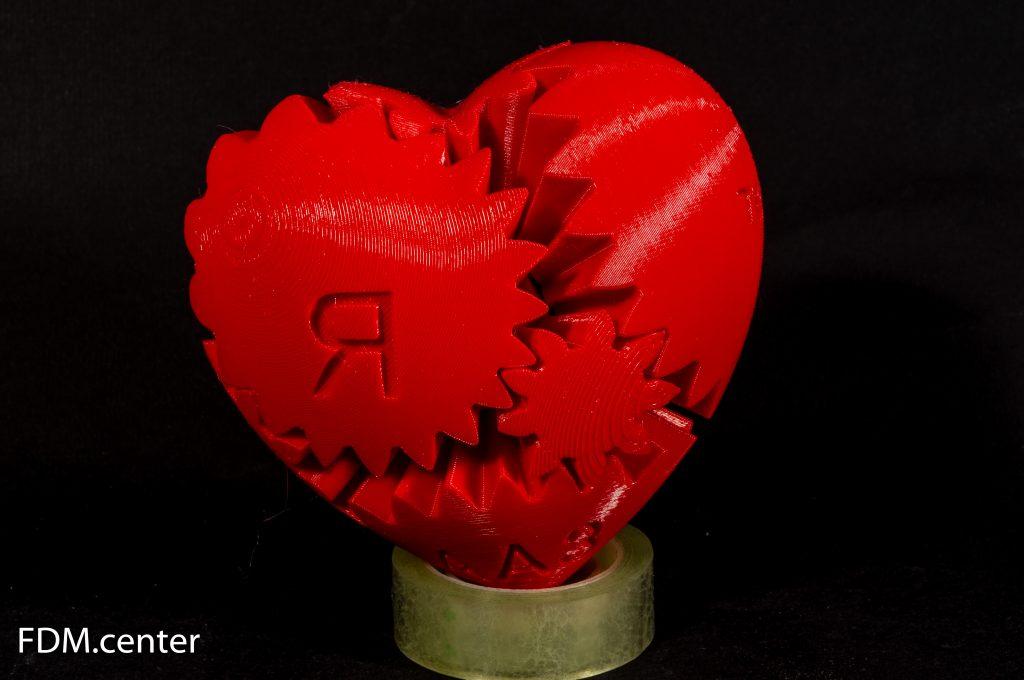 Сердце-шестеренка с надписью 3d печать